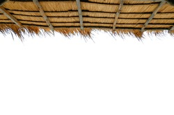 Grass or Thatch roof on white background cutout
