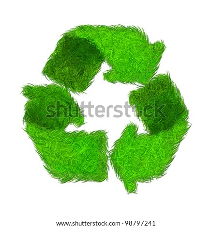 grass recycle symbol Isolated on White Background. Computer Graphics.