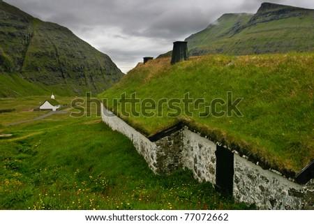 Grass-roofed house, Faroe Islands