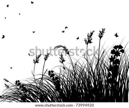 Grass silhouettes background  for design use
