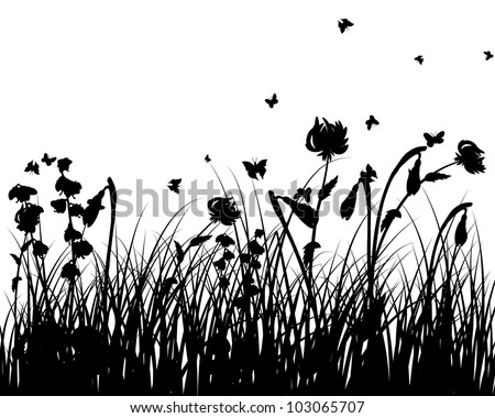 Grass silhouettes background with flowers and butterfly