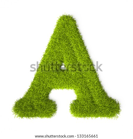 Grass style Latin Alphabet Letter A Isolated on white background