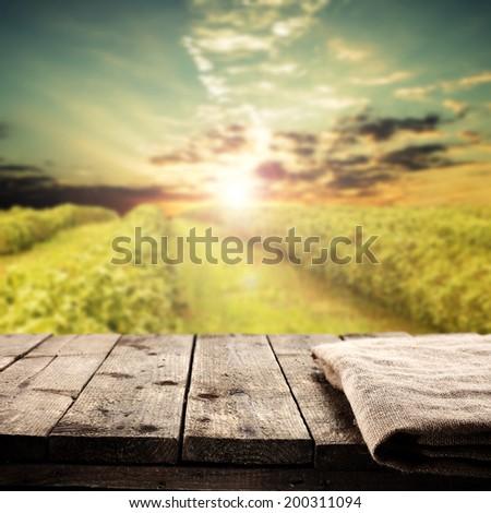 grass sun and napkin on table