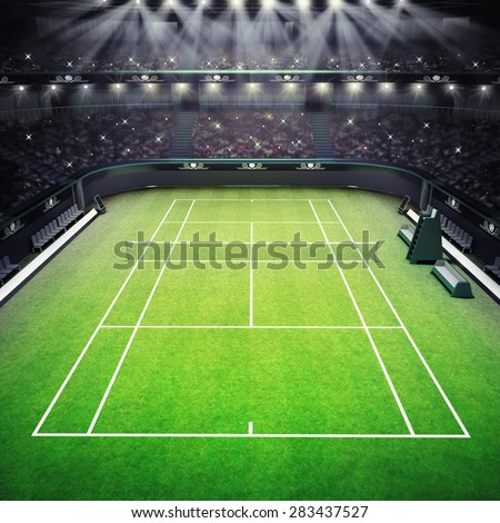 grass tennis court and stadium full of spectators with spotlights tennis sport theme render illustration background my own design