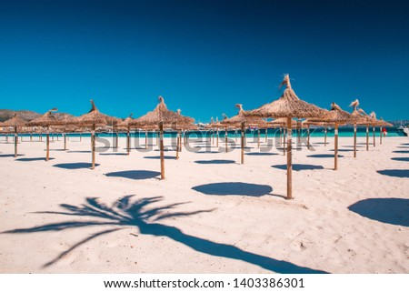 Grass umbrellas at the summer beach on Playa de Muro. Mallorca, Spain Foto d'archivio ©