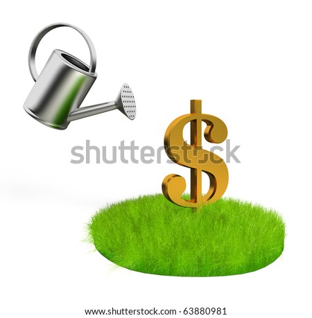 grass with dollar signs and aluminum bailer