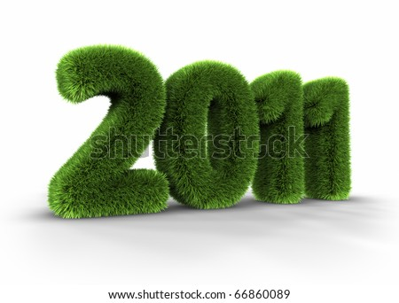 Grass year 2011, large grassy number, 3d render - stock photo