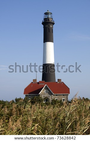 Grasses in front of the Fire Island Lighthouse. Fire Island National Seashore, Long Island, New York. - stock photo
