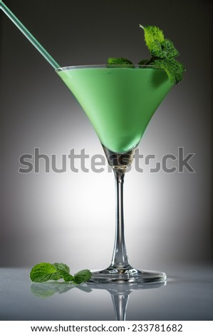 Grasshopper cocktail with mint on gradient background