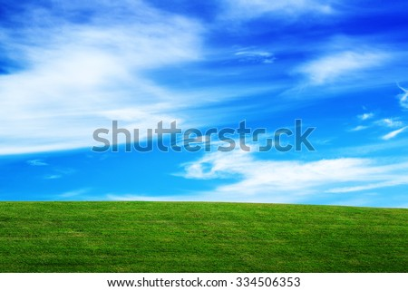 Grassland and Sky, Horizon over Field, Open Empty Green Grass Countryside Meadow and Blue Sky with Clouds, Beautiful Spring Season Natural Scene