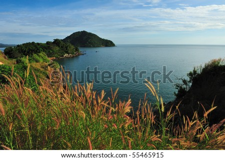 Grassland with sea in the eastern of Thailand