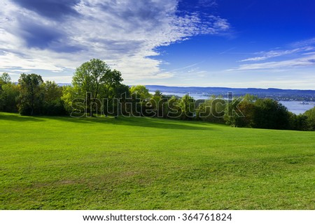 Grassy meadow with trees, sky and clouds - Shutterstock ID 364761824