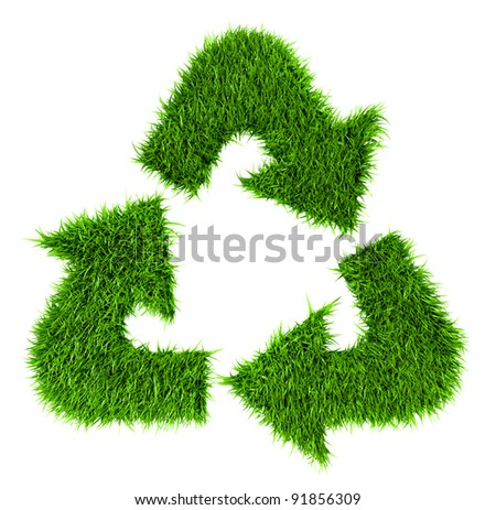 Grassy recycle sign isolated on white background with working path