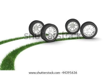 Stock Photo Grassy trace from wheels. 3d illustration.