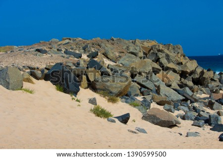 Grassy  wind swept vegetation growing on the  sandy beach near the rocks near a  rocky groyne  by the land backed harbour in Bunbury South Western Australia on a sunny autumn morning. #1390599500
