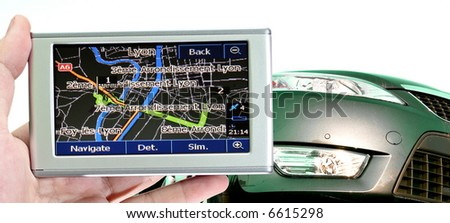 Grate car isolated on white. gps in a man hand