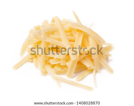 Grated cheese isolated on white background. Slices cheese.