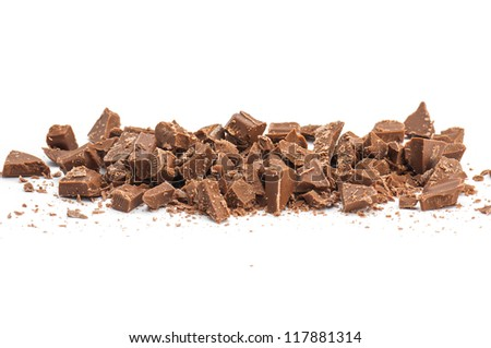 Grated chocolate isolated on white background