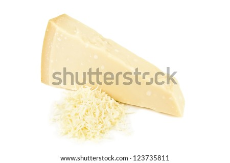 grated parmesan on white background