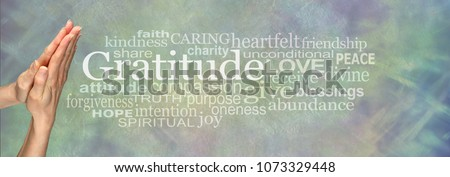 Gratitude Prayer Word Tag Cloud     - Female hands in prayer position beside the word GRATITUDE and a relevant word cloud on a pale blue green stone effect background   #1073329448