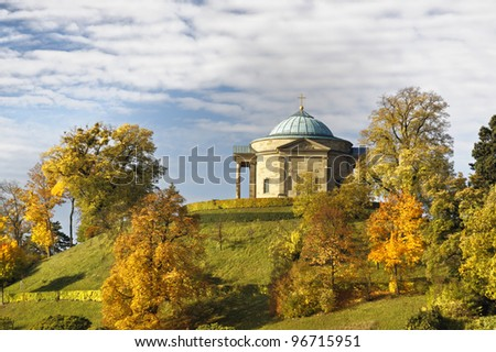 Grave chapel at Stuttgart in autumn, Germany