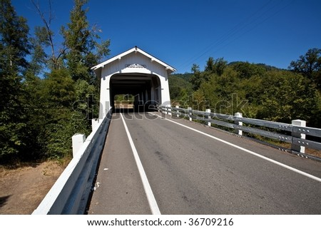Grave Creek covered span at Sunny Valley, about 15 miles north of Grants Pass, can be seen by motorists traveling Interstate 5.