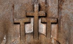 Grave crosses symbol stonework graveyard