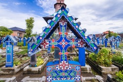 Grave details on Merry Cemetery in Sapanta village, famous for its painted headstones, one of the major tourist attractions in Romania