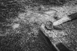 Grave marker next to grave
