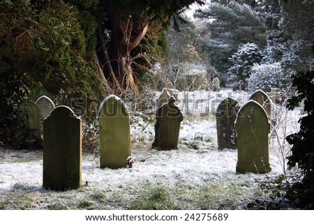 Grave stones in the snow