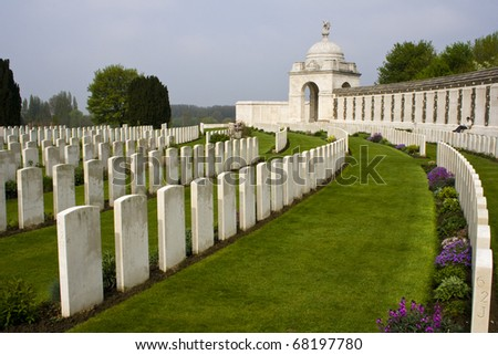Grave stones of soldiers at a First World War Memorial in Belgium