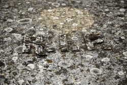 Grave with rip symbol, detail of death and Christian belief