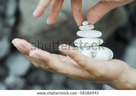 Gravel pile in hands