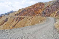 Gravel road in Denali national park, Alaska (USA)