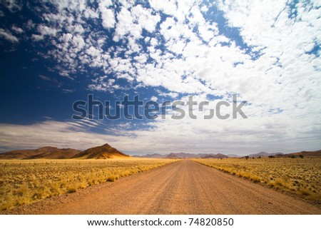 Gravel road in open spaces, Namibia