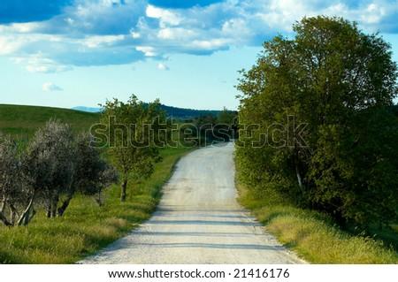 Gravel road in Tuscany region of Italy.