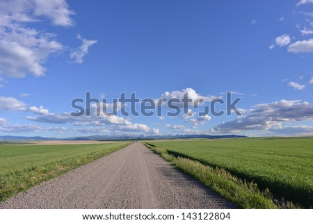 Gravel road with wheat field and the mountains of Gallatin National Forest, Montana.