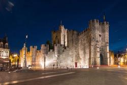 Gravensteen castle at night, Gent, Belgium