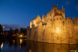 Gravensteen Castle in Ghent at Night Landscape Orientation