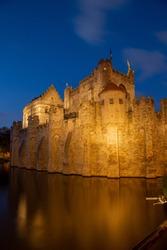 Gravensteen Castle in Ghent at Night Portrait Orientation