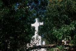 Graves and Cross near Greek Orthodox cemetery  Istanbul, Turkey. The burial ground is the final resting place of people professing the Orthodox faith in Istanbul.