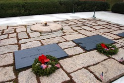 Graves of President John F. Kennedy and his wife, Jacqueline, at Arlington National Cemetery in Arlington, VA.