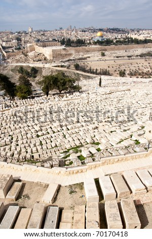 Graves on the Mount of Olives and a view on Old Jerusalem, Israel - stock photo