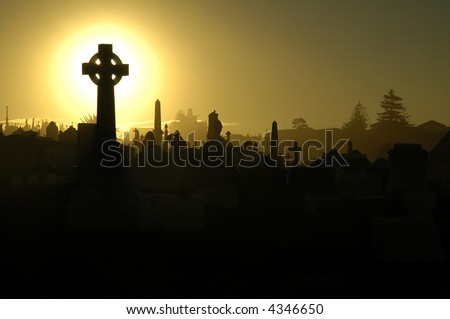 graves silhouettes, yellow sky, two mourning people