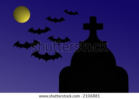 Gravestone At Night With Flying Bats And Moon, Illustration