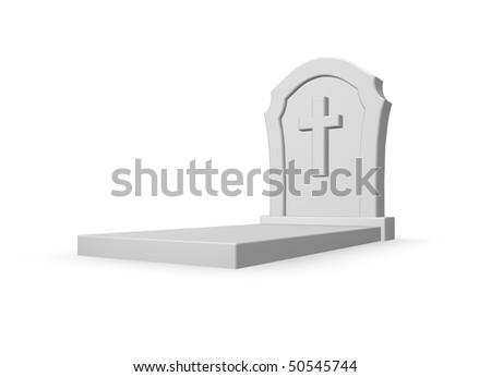 gravestone with christian cross on white background - 3d illustration