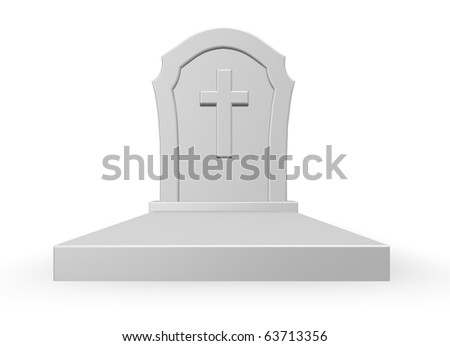 gravestone with christian cross on white background - 3d illustration
