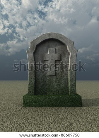 gravestone with christian cross under cloudy blue sky - 3d illustration