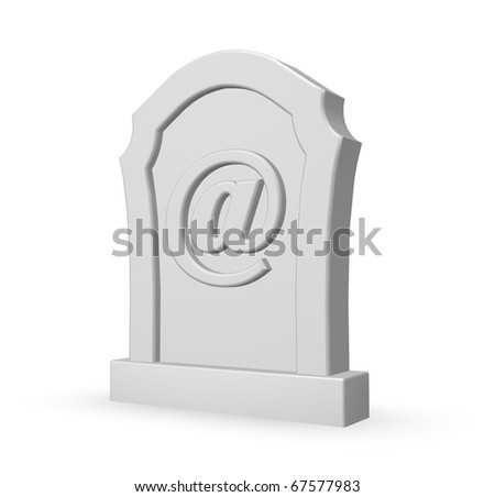 gravestone with email symbol on white background - 3d illustration