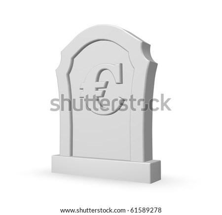 gravestone with euro symbol on white background - 3d illustration